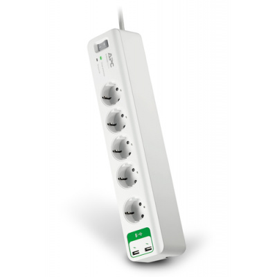 APC Essential SurgeArrest 5 outlets with 5V, 2.4A 2 port USB charger 230V PM5U-GR